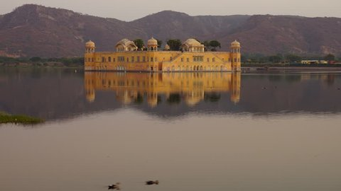 Timelapse day to night of Jal Mahal, Jaipur, India
