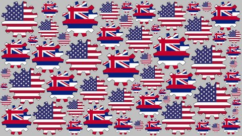 American and Hawaii US state flag gears rotating background