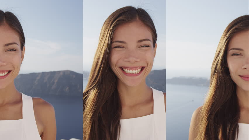 Vertical Videos - Portrait of Asian Woman Smiling Happy winking looking at camera. | Shutterstock HD Video #1013700374