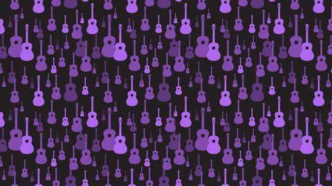 Seamless pattern. Vector music pattern with guitars. Abstract textured background design. Music symbols. Classic guitar. Classical musical instrument. Animation. Alpha channel.