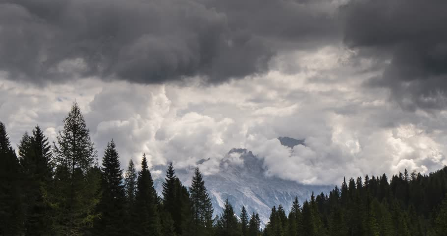 time lapse view of cloud and mountains near Cortina Ampezzo, South Tyrol, Italian Dolomites, Italy, Europe