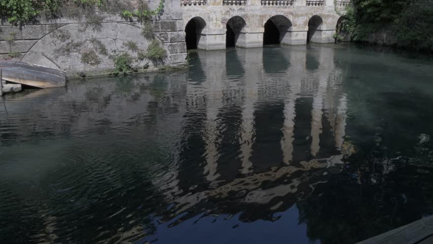 View of river and architecture overlooking Giardino Salvi Park, Vicenza, Veneto, Italy, Europe