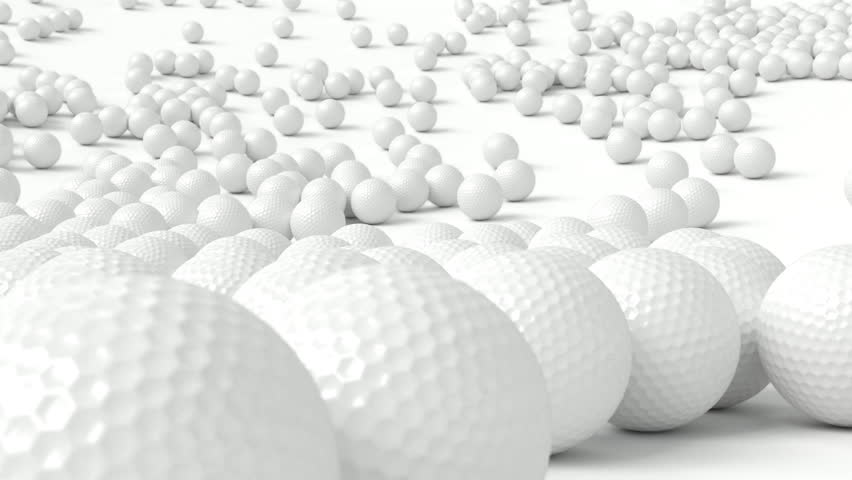 Animated falling plain white golf balls on white base or background bouncing of it and tumbling or rolling toward the camera and then into the center. | Shutterstock HD Video #1013752934