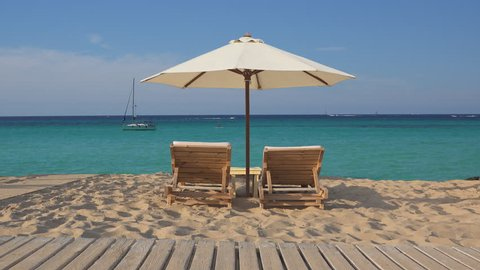 Stupendous Tropical Exotic Beach With Two Empty Wooden Lounge Sunbeds And Big White Umbrella Fine White Sand And Turquoise Sea Water Perfect Relax In Holiday Luxury Destination Forskolin Free Trial Chair Design Images Forskolin Free Trialorg