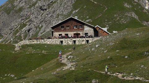 Fidererpass mountain hut, Kanzelwand, Allgaeu Alps, Oberstdorf, Allg?u, Swabia, Bavaria, Germany