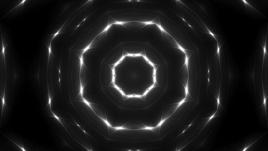 Fractal grey kaleidoscopic background. Background motion with fractal design. Disco spectrum lights concert spot bulb. More sets footage in my portfolio.