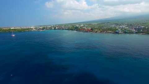 Kailua Bay in Kailua Kona, Hawaii - Aerial