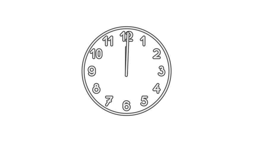 Motion background with spinning clock in 12 hour seamless loop.