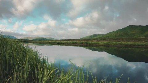 Timelapse of clouds over the Ayakulik River on Kodiak Island Alaska.