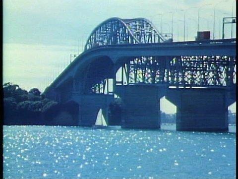 AUCKLAND, NEW ZEALAND, 1985, Auckland Harbor Bridge, backlighting