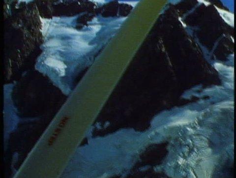 MOUNT COOK, NEW ZEALAND, 1985, Southern Alps, Cessna, ski plane, POV with strut