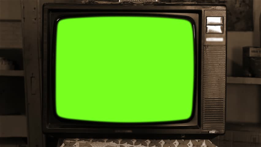 80s Television with Green Screen. Sepia Tone. Zoom In.  | Shutterstock HD Video #1013886824