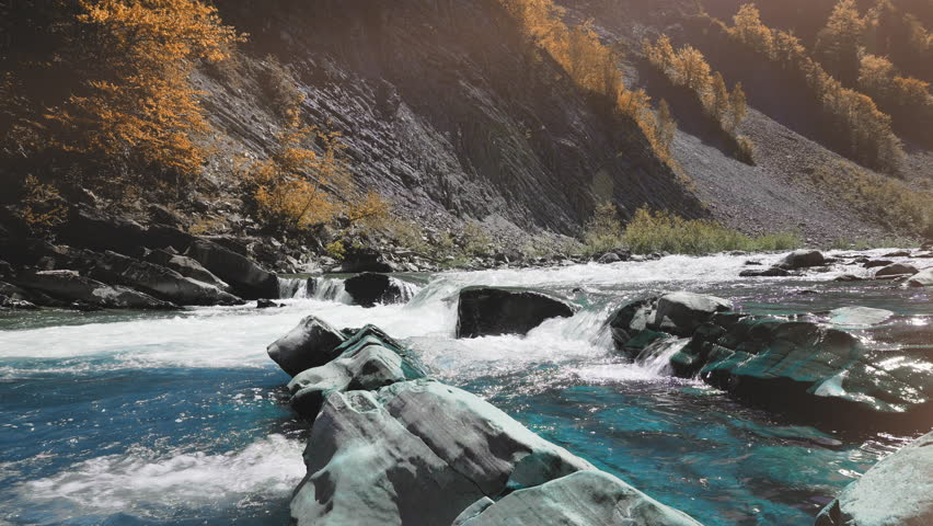 Raging Mountain river. Wildness of clean, clear water in the mountain river. concept of sewage failure.