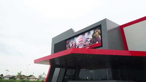 SAMUT PRAKAN, THAILAND. – On July 21, 2018. - The facade building of Marvel Experience, The World's First Hyper-Reality Tour is a mobile interactive attraction featuring Marvel's characters.