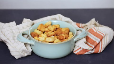 Fresh french toast croutons in the bowl.