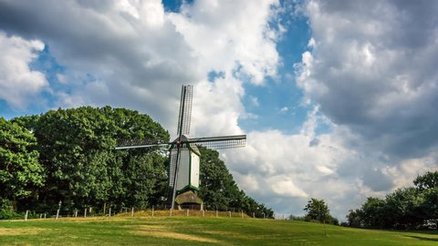Windmill 'Prins Bernhard' at the village of Melick, in the southern province of Limburg, The Netherlands, Europe. Time lapse footage with moving clouds.