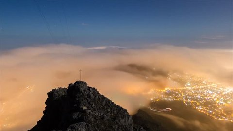 Cape Town Night View From on High. Thick Gray Clouds Descended to Cape Town