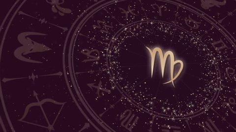Zodiac sign virgo and horoscope wheel