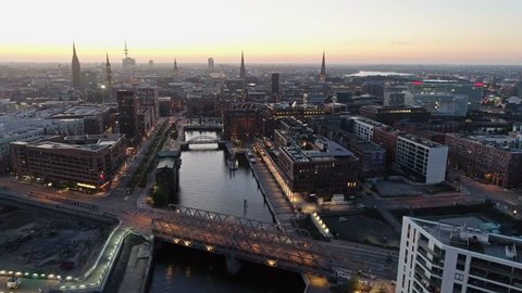 Aerial view of Speicherstadt Hamburg, Germany. Sunset / dusk / night. City lit up at night, Hamburg, Germany Night city landscape. Amazing architecture.