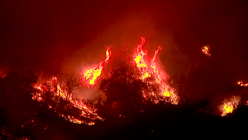 2017 - the Thomas Fire burns in the hills above the 101 freeway near Ventura and Santa Barbara, California.