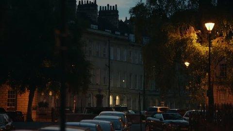 Street lighting in England at night: city of Bath