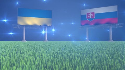 3d animated soccer ball bouncing in front of billboards with the flags of Ukraine and Slovakia with flickering lights in the background in 4K resolution