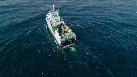 Trawler in the sea  view from above  aerial video the barents sea