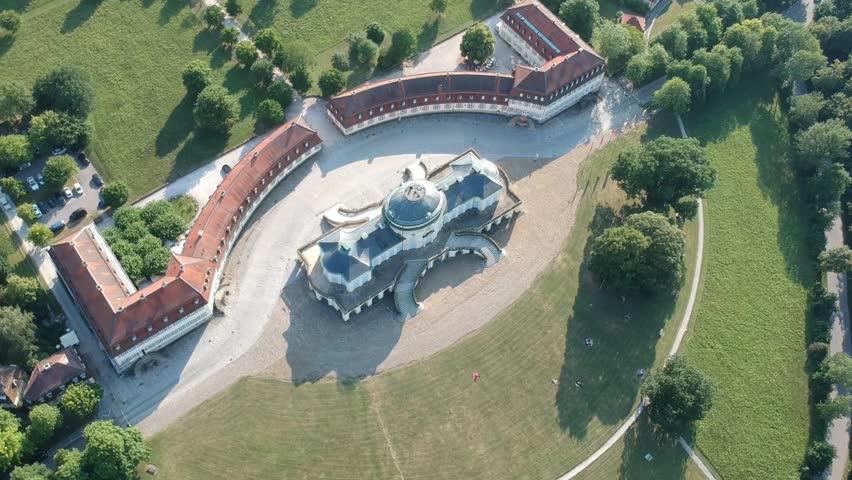 An aerial view of the Castle Solitude near Stuttgart Germany   Shutterstock HD Video #1014118874