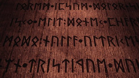 An ancient wooden tablet filled with carved runic signs, 3d panning from top-left to bottom-right. The text is fake, as it's the latin (public domain) Lorem Ipsum.