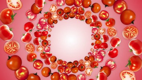 Ring TOMATOES Background, Vegetables, with Alpha Channel, Loop, 4k
