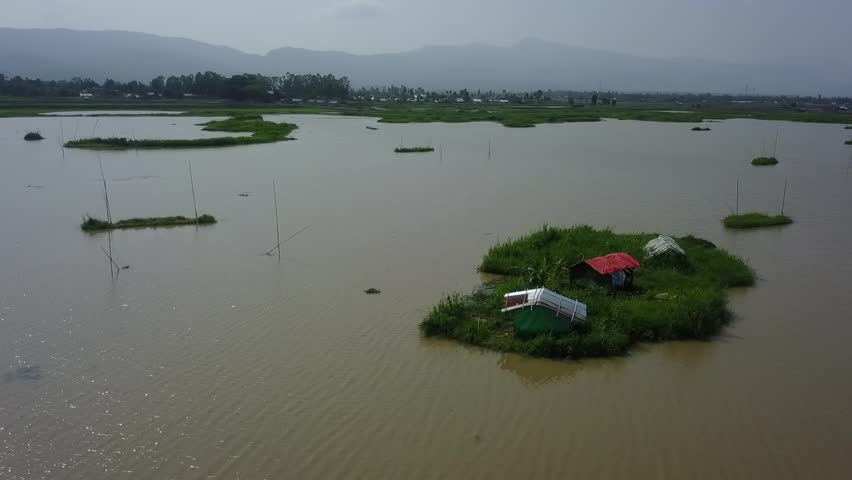 Floating hut at Loktak Lake, Manipur India