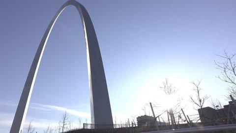 ST LOUIS, MISSOURI - MARCH 26: Establishing pan of St Louis Arch at sunset in Missouri, on March 26, 2017.