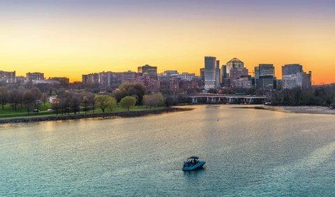 Rosslyn, Arlington, Virginia, USA skyline time lapse on the Potomac River.