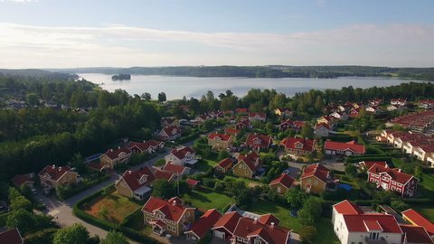 Ariel view of houses in Sweden