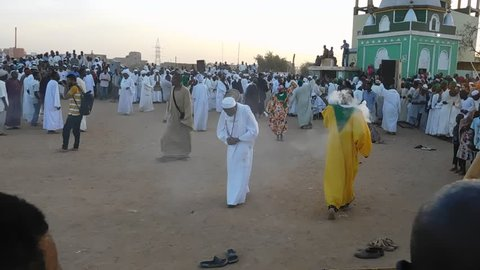 Khartoum, Sudan - November, 17, 2017: Sufi dervishes gather for religious rituals in Omdurman