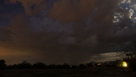 Time lapse of a night thunderstorm in the suburbs