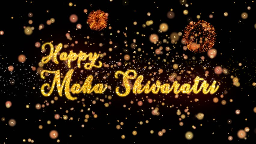 Happy Maha Shivararti Abstract particles and fireworks greeting card text with shiny black background for festivals,events,holidays,party,celebration.