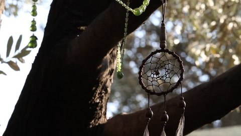 Hanging Handmade Craft Bead Ornaments Dreamcatcher in Authentic Holiday Setting