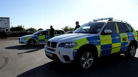British transport police officers.  Humber Bridge Country Park .Filmed 06/07/2018