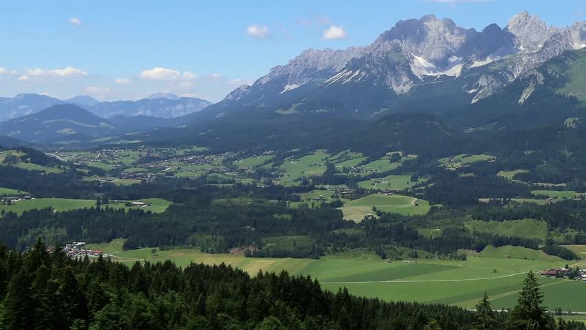 Panoramic view of the Kaiser Mountains (Wilder Kaiser), Tirol, Austria