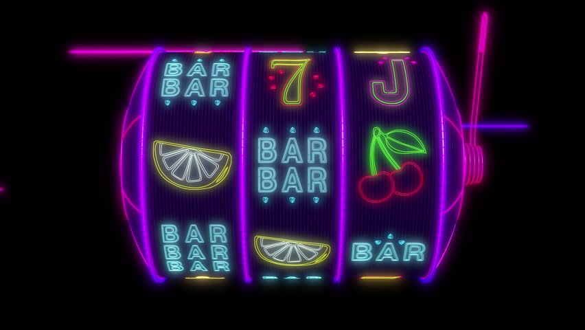 Neon slot machine hitting a 777 jackpot. UHD - 4K - 3D Rendering | Shutterstock HD Video #1014361994
