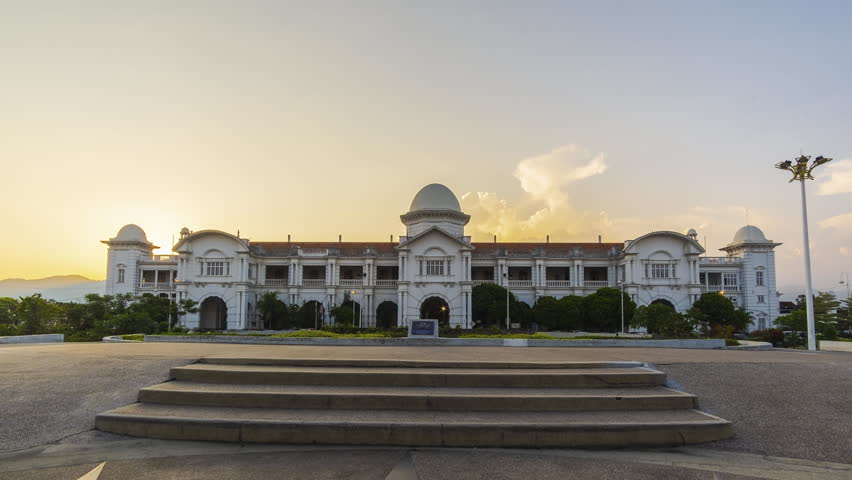 Timelapse of Majestic Ipoh Train Station during Sunset With Beautiful Cloud at Ipoh,Malaysia.1080HD Resolution.Prores.