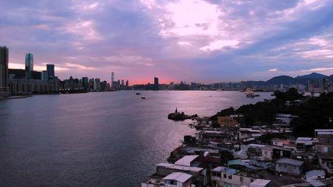 Lei Yue Mun -victoria harbor view in dawn
