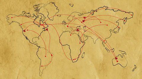 Map of the world on old paper with flat animated retro planes and flight trajectories. Lot or arcs and lines, connecting points. Global air travel concept. Seamless loop with alpha channel.