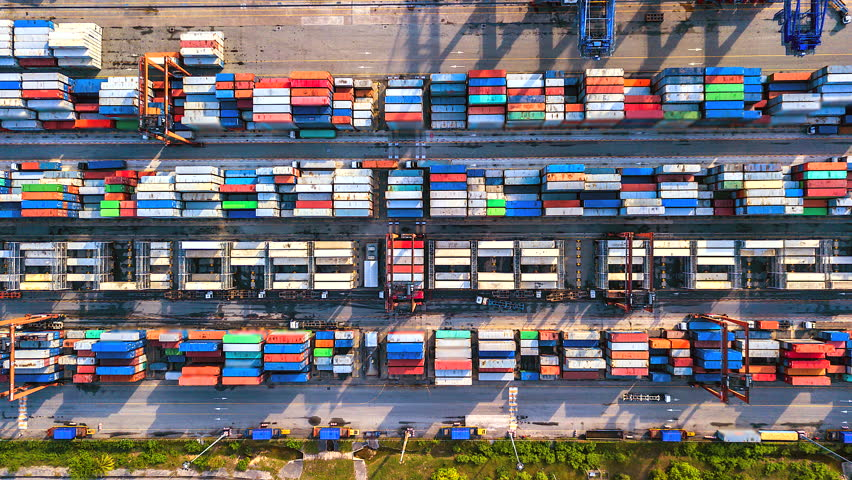 Aerial view, 4K.Time lapse Industrial port with Container port where is a part of shipping Singapore | Shutterstock HD Video #1014458414