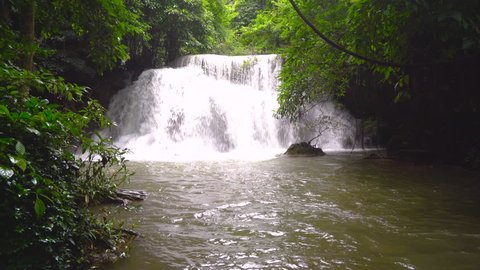 Beautiful waterfall in deep forest, Huay Mae Kamin Waterfall in Thailand