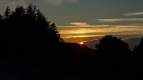 4k time lapse of sunrise over the Clwydian Forest at Moel Famau, North Wales