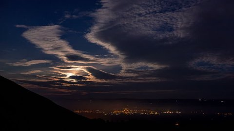 4k time lapse of the moon setting over the Vale of Clwyd, North Wales