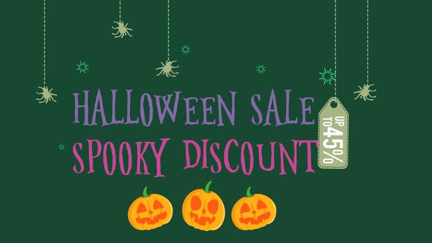 Halloween sale spooky discount with pumpkin | Shutterstock HD Video #1014479684