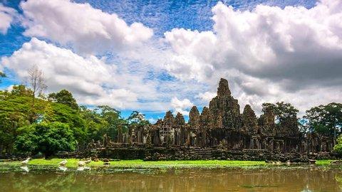 4K, Time lapse landmark of cambodia Bayon in Angkor Thom Angkor Wat in Siem reap of Cambodia